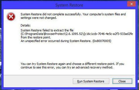 Fix Windows 7, Windows XP System Restore Failed Problem