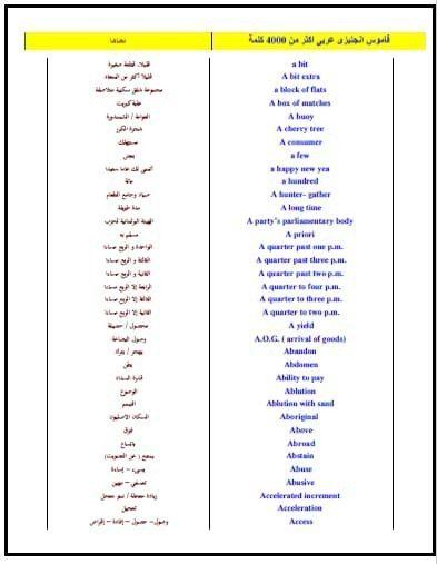 تحميل كتاب قاموس انجليزى عربى اكثر من 4000 كلمة