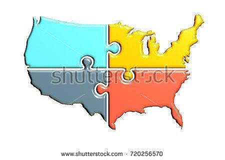 United States Map Rebuild Logo Illustration. 3D Render ...
