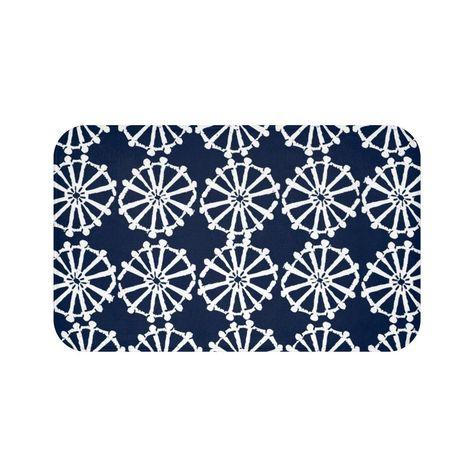 Navy Blue Bath Mat Navy And White Bath Mat Wheel Bathroom Rug Navy Shower Mat White Bath Mat