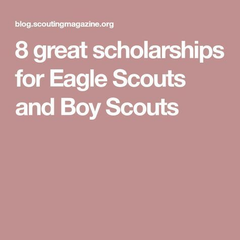 8 great scholarships for Eagle Scouts and Boy Scouts