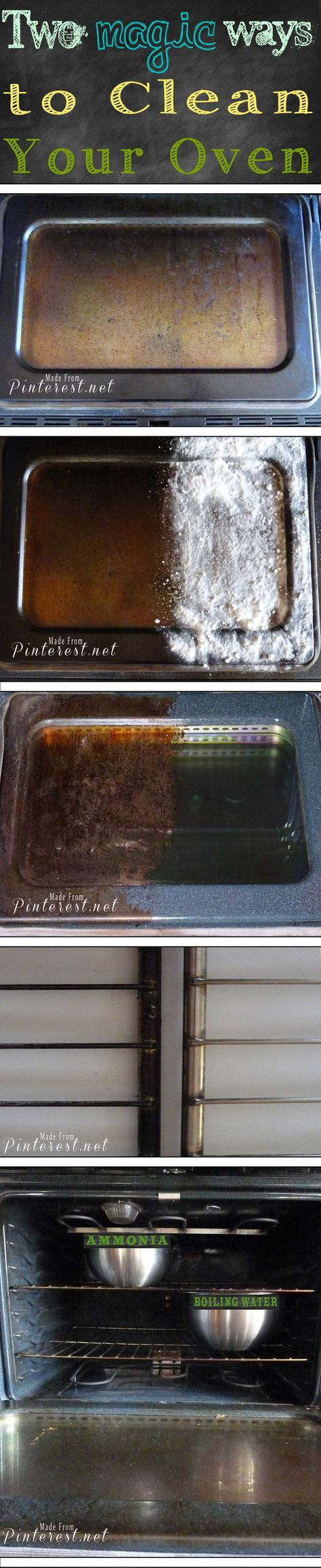 ~Magic Oven Cleaning Method~  so easy to get your oven clean so fast! Do your 5 minute prep the night before, wake up the next morning, wipe it clean and you are done! AWESOME!!