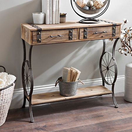 Rustic Bicycle Wheel Console Table Kirklands Metal Console Table Dinning Tables And Chairs Wood Sofa Table