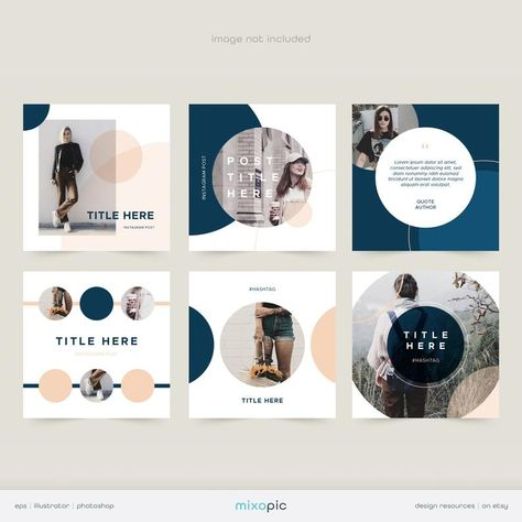 Modern Circular Geometric Instagram Pack   Vector EPS, Illustrator, Photoshop Template   Simple Social Media Template   Instant Download