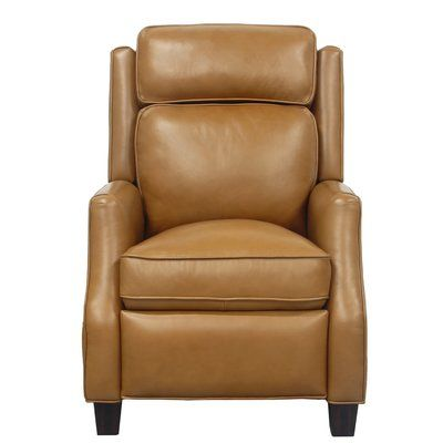 Canora Grey Rodrick Leather Manual Recliner Upholstery Carmel Leather Recliner Barcalounger Recliner