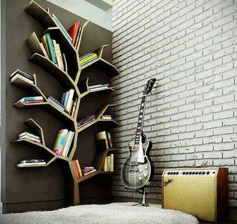 Music And Library Corner Home Tree Bookshelf