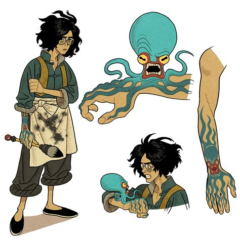 fantasy character concept art for a painter with an octopus tattoo that comes to life. Character Design Challenge, Fantasy Character Design, Character Design References, Character Design Inspiration, Character Concept, Character Art, Concept Art, Dnd Characters, Fantasy Characters