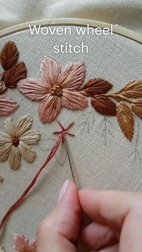 Woven wheel stitch Hand embroidery