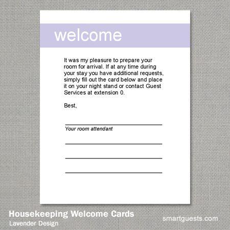 Housekeeping Welcome Cards Hotel Housekeeping Welcome Card Housekeeping