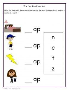 Kindergarten Phonics Worksheets   Free printable word family ...