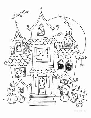 Haunted House On Halloween Day Coloring Page Download Amp