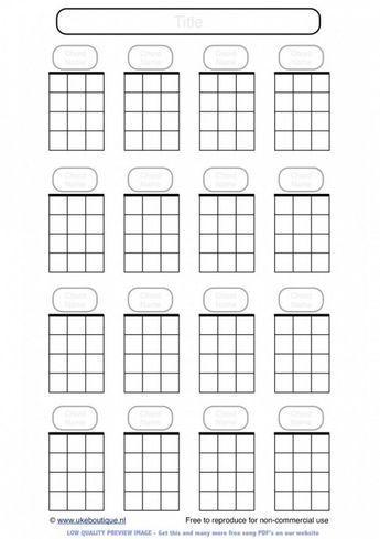 Blank Ukulele Chord Paper Handy For Lefties Ukulele Chord Charts