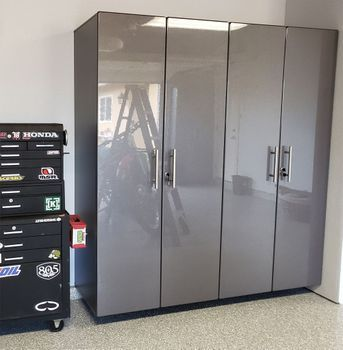 Graphite Grey Metallic Mdf 2 Pc Tall Garage Closets Tall Cabinet Metal Garage Cabinets Tool Storage Cabinets