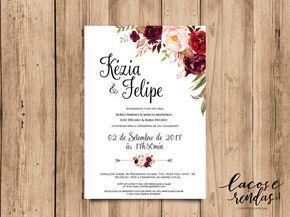 Arte Para Convite De Casamento Floral Marsala 02 Convite De