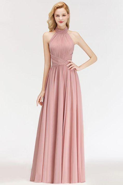 82061828bca Chicloth Sleeveless A-line Fashion Floor-length Chiffon Backless Halter  Bridesmaid Dress