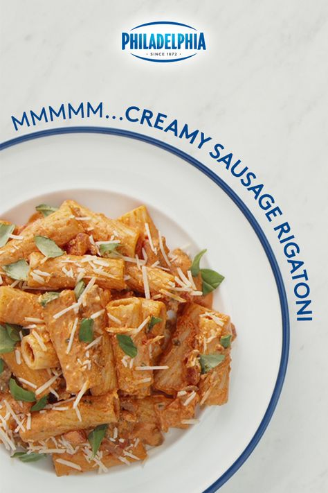 Upgrade your traditional pasta with Philly. Use PHILADELPHIA Cream Cheese to create the perfect pink sauce. This simple recipe for Creamy Sausage Rigatoni is easy to make in large batches for sharing and can be customized with any of your favorite vegetables and spices. #ItMustBeThePhilly