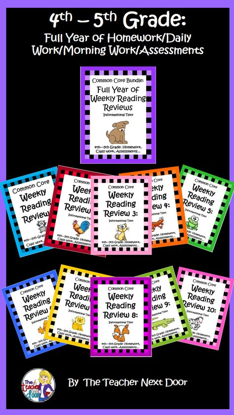 240 pages! An entire year of Common Core Weekly reading reviews! 40 passages with comprehension questions for each and editable question pages too! Great as homework, morning work, daily work or as an assessment tool. $