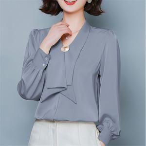Women Chiffon Blouses Women Shirts Elegant Women V Neck Shirt Plus Size Tops Lady Satin Blouse