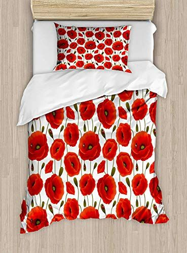 Poppy Luxury 4 Piece Bedding Set Spring Flowers With Ladybugs Animals And Plants Flora And Fauna Nature Duve Red Bedding Sets Flower Duvet Cover Luxury Bedding