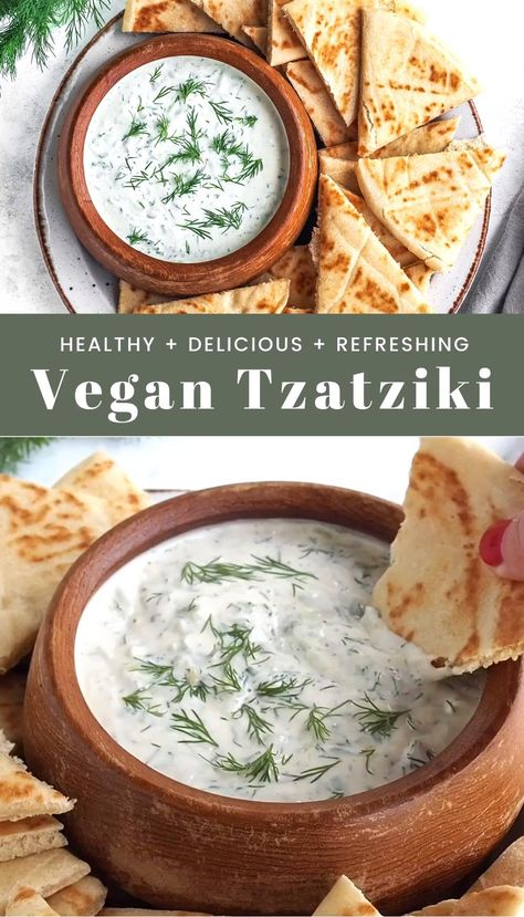 This vegan tzatziki sauce is made with a base of tofu and cashews instead of the traditional yogurt. It's creamy, tangy, refreshing, and so delicious! It's a great sauce to have on nourish bowls, as an appetizer with pita, and of course, with falafels!  #dairyfree #vegan #vegetarian #dill