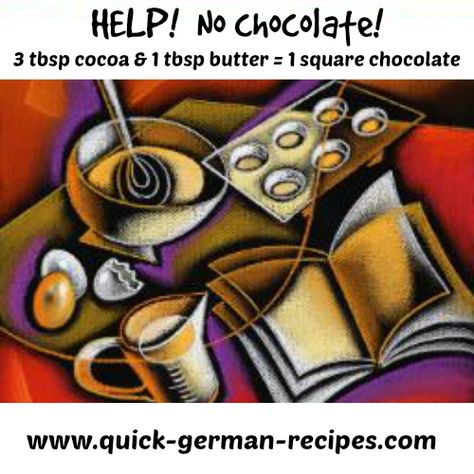 Don't have any chocolate? Use this quick substitute ... http://www.quick-german-recipes.com/index.html