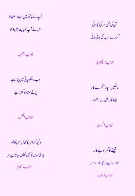 Urdu Riddles Paheliyan Hi Paheliyan Book With Answer Free in PDF