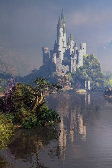Castle in the water. #castles #fantasy #inspiration #landscape #lake