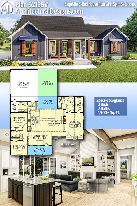 Plan 62155V: Exquisite 3-Bed House Plan with Split Bedrooms