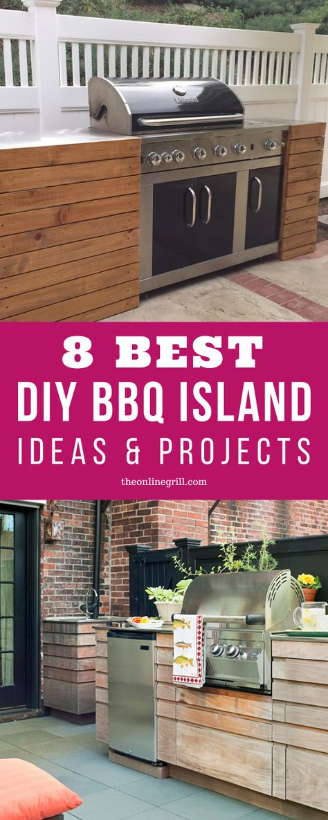Starting a new DIY BBQ island project? Check out these DIY BBQ island ideas. Including ideas with cinder block BBQ islands, wood pallets, cement, and more!