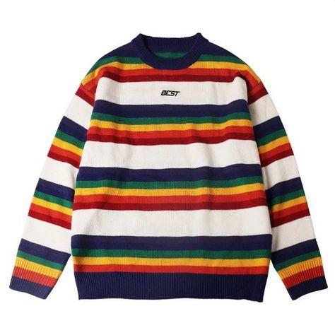 d5fd4812464818 Vintage Rainbow Pullover Sweater