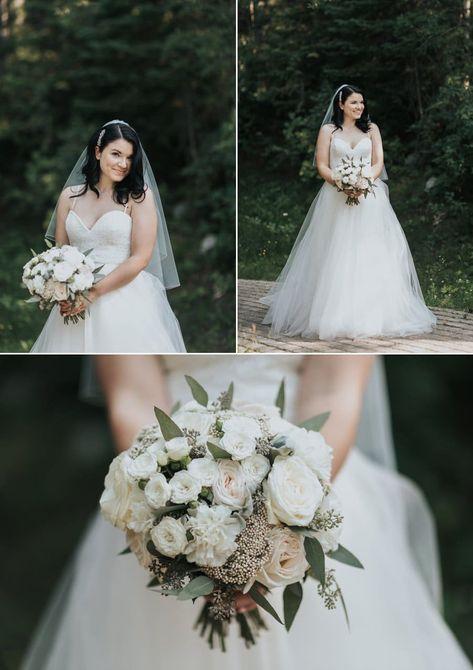 Classic bridal bouquet with white ranunculus & antique garden roses -  Emerald L...#antique #bouquet #bridal #classic #emerald #garden #ranunculus #roses #white