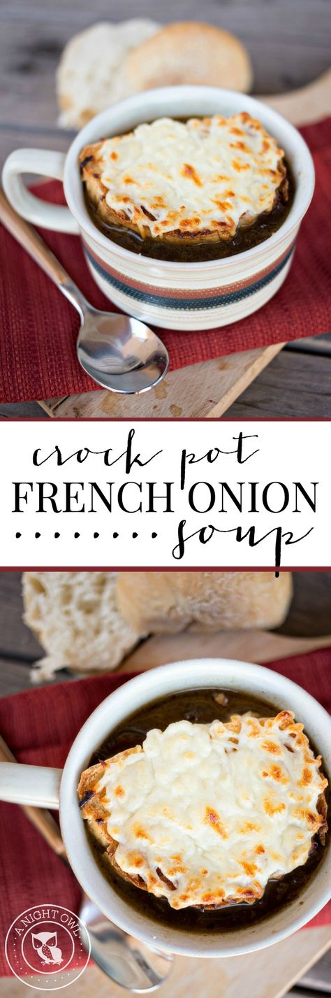 Crock Pot French Onion Soup - a restaurant favorite that you can make in the comfort of your own home!