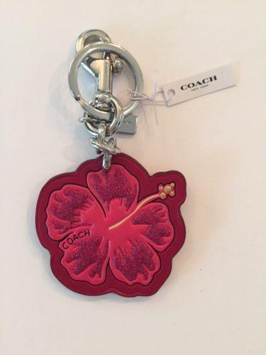 Coach Red Glitter Hibiscus Flower Bag Charm Key Ring Flower Bag