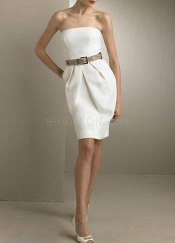 Romantic Strapless Sash Satin Mini Wedding Dress