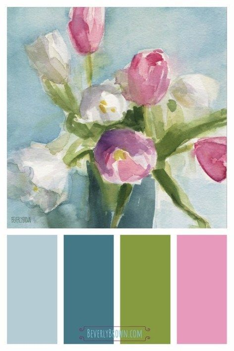 Pink White Aqua Blue Shabby Chic Floral Painting Wall Art