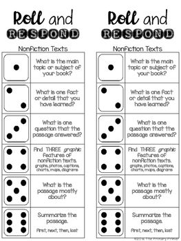 Roll And Respond Comprehension Dice Game Nonfiction Edition Guided Reading Books Nonfiction Texts Comprehension
