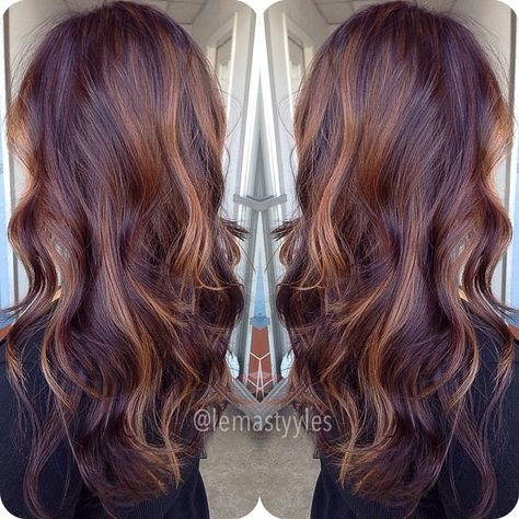 #ShareIG I honestly don't know why people are so anti warmth!?? like this is literally beautiful.gave her a chocolate mahogany base color with some golden copper balayage.im in love btw sorry about my rant earlier lol im still taking new clients!!! and I love my existing ones..but yes I'm still taking new clients sorry for not being clear lol ok bye #hairbylema #balayage