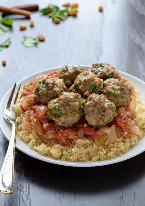 Healthy Moroccan Turkey Meatballs with Whole Wheat Couscous