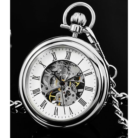 Stührling Original elegant pocket watch in silver made of stainless steel - Stührling Original elegant pocket watch in silver made of stainless steel - Pocket Watch Tattoos, Pocket Watch Tattoo Design, Clock Tattoo Design, Clock Tattoos, Tattoo Designs, Old Watches, Vintage Watches, Pocket Watches, Celtic Tattoo Symbols