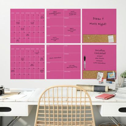 Wall Pops Dry Erase Calendar Decal Set Pink With Images