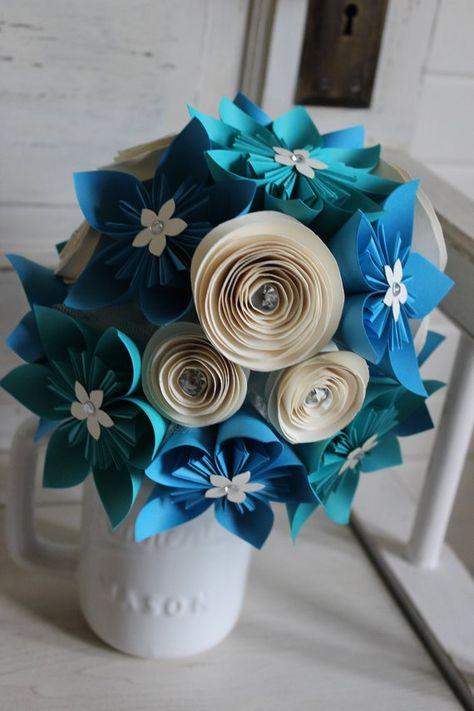 Bouquet Sposa Origami.Origami E Spirale Bouquet Bouquet Di Kusudama Bouquet Da Sposa