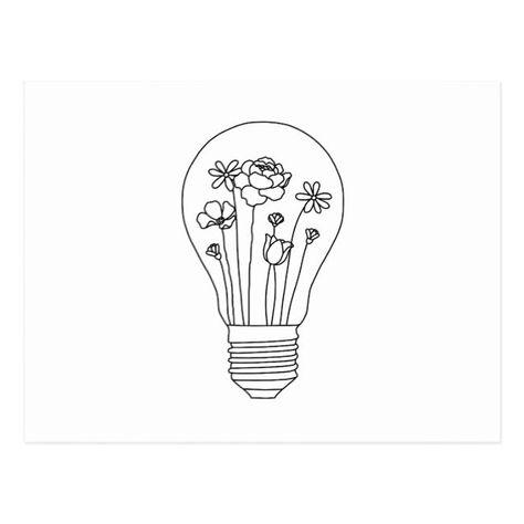 Cute Flowers in Lightbulb Line Design Postcard Simple Flower Drawing, Easy Flower Drawings, Cute Easy Drawings, Flower Art Drawing, Cute Little Drawings, Drawings Of Flowers, Easy Nature Drawings, Beautiful Easy Drawings, Simple Flowers