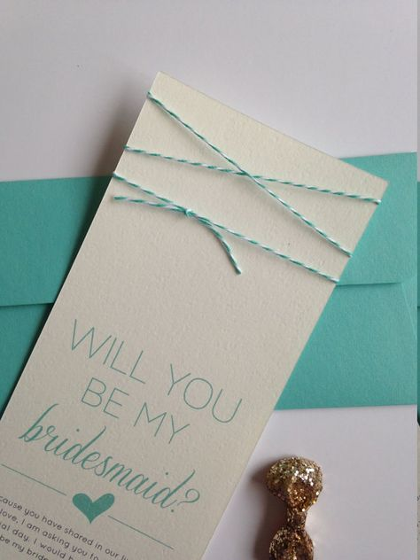 """Turqoise Twine """"Will You Be My Bridesmaid"""" Card and Envelope"""