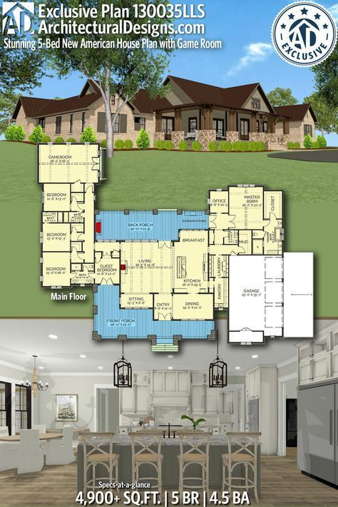 Plan 130035lls Stunning 5 Bed New American House Plan With Game Room Ranch House Plans House Plans American Houses