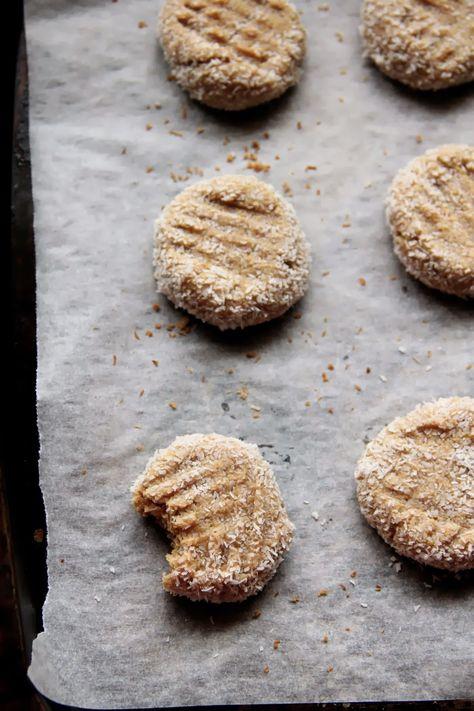 honey peanut butter & coconut cookies