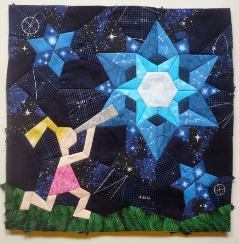 """""""Portrait of the Astronaut as a Young Girl"""" from Hexatopia.  Amazing quilt block for the Astronomical Quilts! Block Challenge.  I think it is beautiful and amazing and could certainly be me!"""