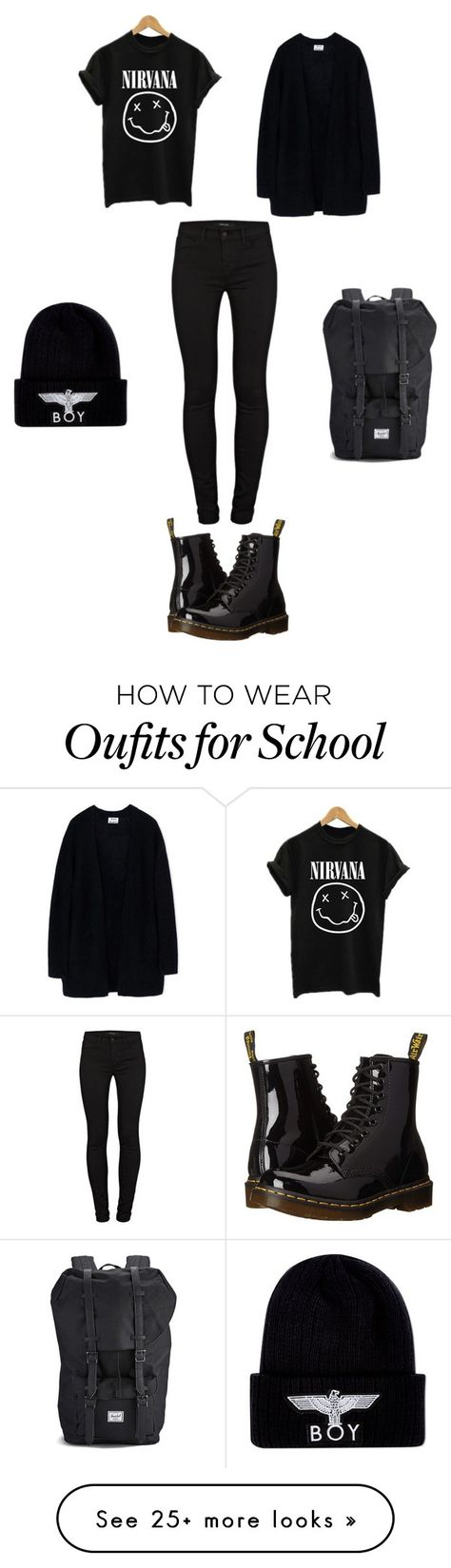 """""""I Can't Wait For School And Fall """" by zasad on Polyvore featuring Acne Studios, Dr. Martens, J Brand, Herschel and BOY London"""