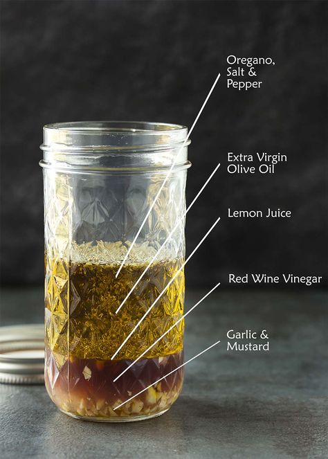 is the best homemade Greek salad dressing! This classic vinaigrette with lemon juice, red wine vinegar, olive oil and other pantry ingredients is easy to shake up in a mason jar. Perfect over traditional Greek salad. Vinegar Salad Dressing, Salad Dressing Recipes, Olive Oil Vinegar Dressing Recipe, Bacon Dressing, Olives, Traditional Greek Salad, Olive Oil Dressing, Red Wine Vinaigrette, Pots