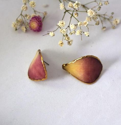 Purple Stud Earrings Orchid Earrings Real Flower Earrings Real Flower Jewelry Orchid Petal Earri Orchid Earrings Real Flower Jewelry Purple Earrings