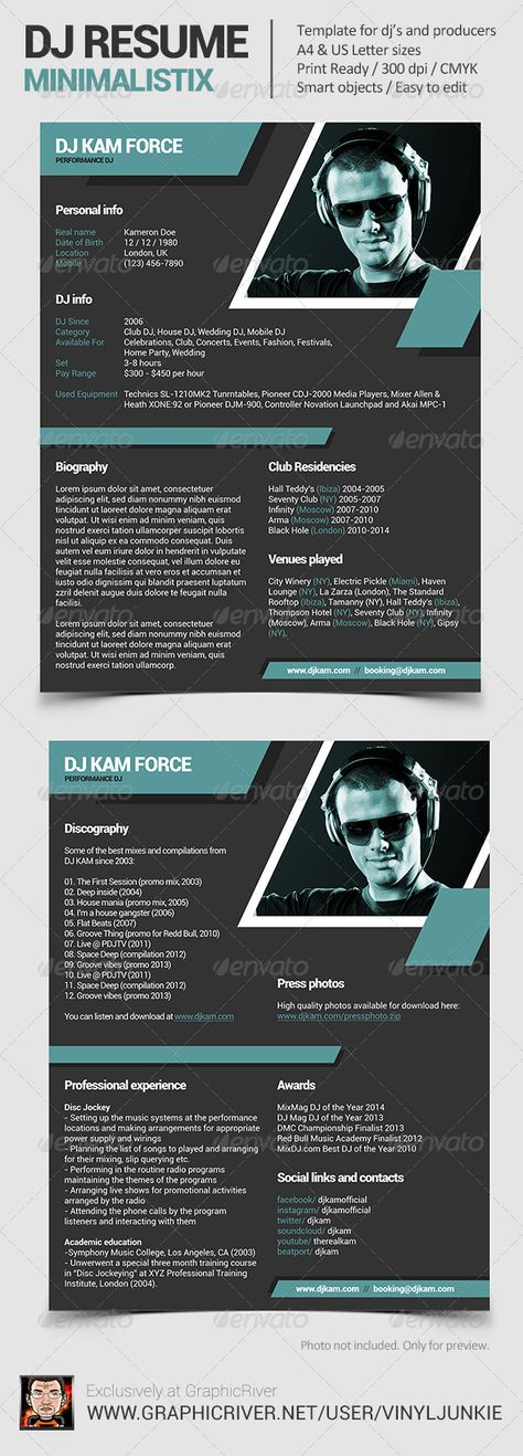 Minimalistix - DJ Resume \/ Press Kit Resume Template PSD Download - dj resume